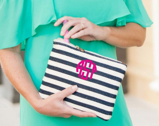 Monogrammed Clutch, Monogrammed Gifts, Chandler Stripe, Monogrammed Bridesmaid Gifts, Makeup Bag, Cosmetic Pouch, Toiletry Bag, Pencil Case