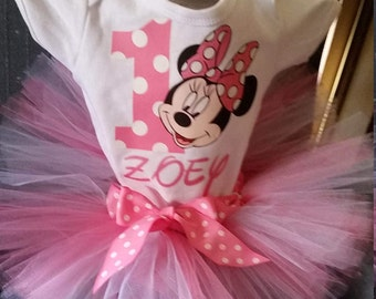 Pink and White Minnie Mouse Shirt and Tutu Skirt Birthday Outfit