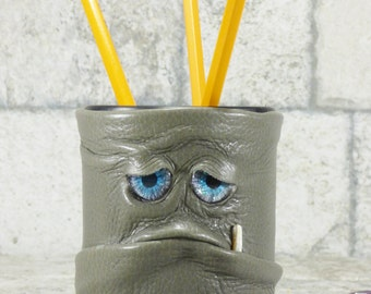 Pencil Cup Dice Cup Desk Organizer Game Accessory With Monster Face Gray Leather RPG Harry Potter MTG D&D