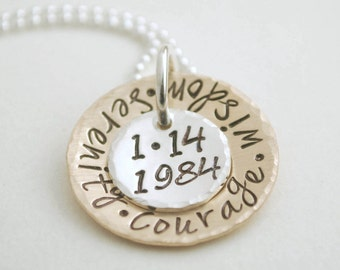 Custom Anniversary Date Necklace Hand Stamped and Personalized Sobriety Date Jewelry