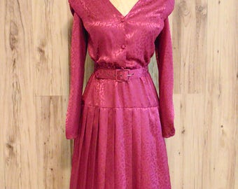 1980s Diane Von Furstenberg dress in fuschia, eighties secretary dress
