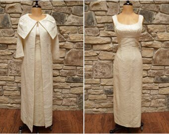 1960s Bone White Formal Gown & Jacket, Sixties Sleeveless Floor Length Dress w/ Side Slit, Claralura Original Wiggle Wedding Dress