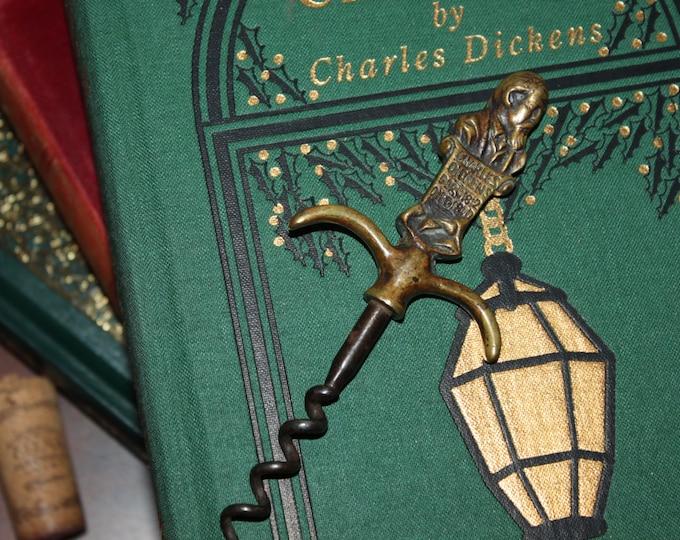 Antique 1920 British Brass Charles Dickens Corkscrew