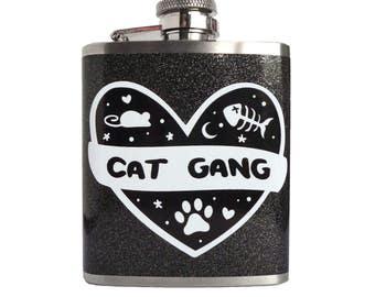 Cat Gang - Black & White - Kitty Vodka Hip Flask 3oz - Quirky Kitten Inspired Gift