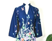 70s pastel floral kimono micro mini dress / vintage polyester dashiki blouse lingerie lounge robe