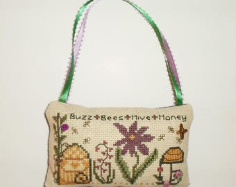 Completed Cross Stitch Primitive Summer Bee Tuck Hanging Pillow