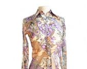 Vintage 70s Art Nouveau fantasy shirt/ Alphonse Mucha design/ psychedelic shirt/ novelty print/ goddess shirt/ Collar n' Cuffs San Francisco