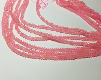 Pink Lemonade Candy Jade Faceted Rondelle Beads  3mm to 4mm