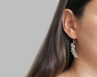 Botanical Jewelry - Leaves Earrings - Leaf Earrings - Gold Leaf Earrings - Silver Leaf Earrings - Leaf Jewelry - Long Earrings