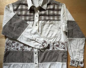 Patchwork Cotton Shirt Women's Small