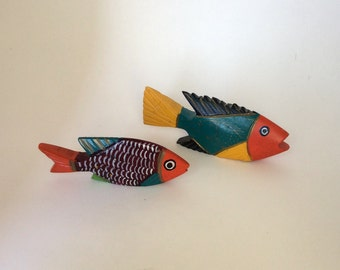 Vintage Mexican Painted Wood Carved Fish, Folk Art