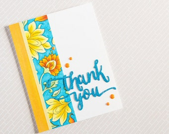 Handcrafted Thank You Card with yellow and orange flowers
