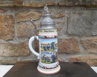 Original Antique German Regimental Beer Stein Musketier Infantry Military Pewter Top Finial Imperial Eagle and Lithopane Bottom 1910 - 1912