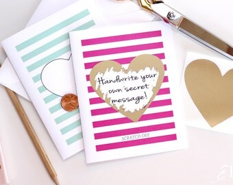 2 DIY Scratch off Will You Be My Bridesmaid / Maid of Honor Cards Gold Heart