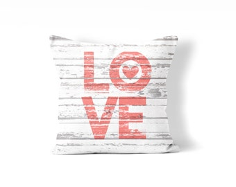 farmhouse Valentine, rustic wood love pillow cover,  red and white, fixer upper style, word pillow, rustic Valentine, love, quote pillow