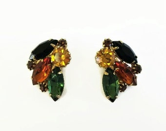 Vintage Juliana Rhinestone Earrings FallColorss, Amber,Topaz, clip On