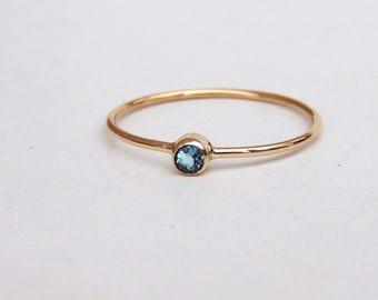 Blue Topaz Ring, Tiny Ring, December Birthstone Ring, Swiss Blue Topaz Ring, Silver Topaz Ring, Low Profile Ring, Stackable Ring, Handmade