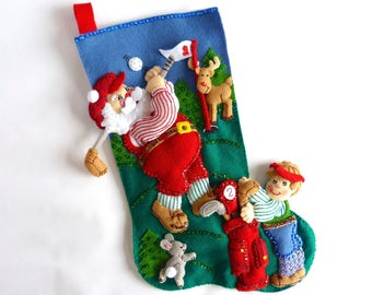 Bucilla Christmas Stocking Finished Bucilla Stocking Personalized Stocking Family Stocking Men's Stocking Sports Stocking Golfing Santa