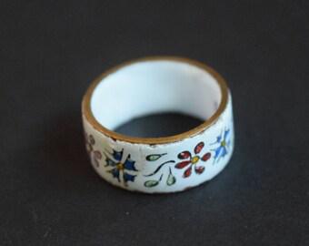Porcelain Ceramic Floral Austrian Ring Vintage