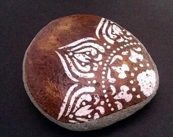 Henna boho inspired hand painted desk stone garden accessory