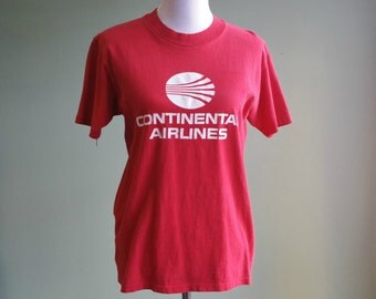 Vintage Continental Airlines Tee - 80s 90s Red Aviation T Shirt - Medium Cotton -