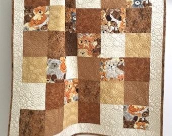 Baby Quilt featuring Love Me Teddy Bear by Exclusievly Quilters Brown Ivory Yellow Tan
