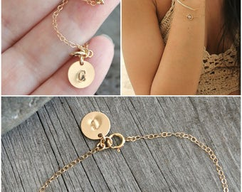 Bar bracelet, Personalized 14k gold filled cubic zirconia curved bar, custom stamped initial disc tag circle, letter, monogram, CZ diamonds