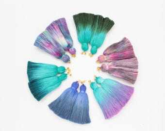 Simple one tassel earrings-tie dyed tassels-hand colored jewelry-fun earrings-statement earrings-tassel jewelry-multicolor options/ FRINGY 3