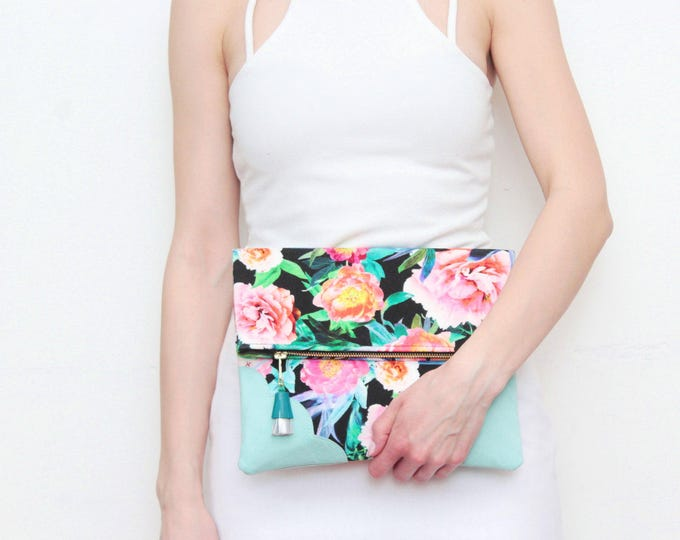 BLOOM / Flower clutch purse-leather bag-fold over purse-scalloped leather-handbag-floral prin-tassel pull bag-black teal pink-Ready to Ship