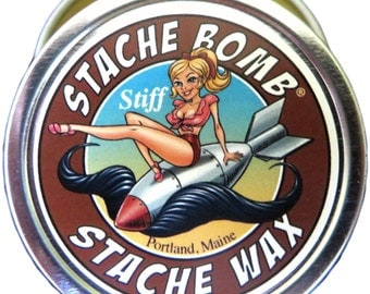 Stiff Stache Bomb Stache Wax- Strong Hold Mustache Wax from Maine