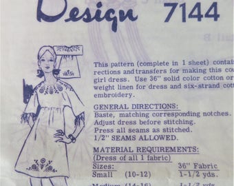 Vintage Embroidery Transfer Alice Brooks Designs Dress Pattern
