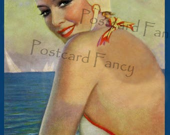 Beach Pin Up VINTAGE BATHING BEAUTY,1939 Liberty Magazine Illustration, Instant Digital Download, Printable Image