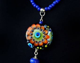 Happy Pill- Art Glass - Lampwork Pendant / Necklace - Finest Murano Glass - by Michou Pascale Anderson