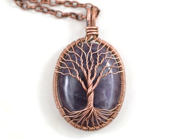 Amethyst Necklace Amethyst Copper Tree-Of-Life Pendant Wired Copper Jewelry February Birthstone Protection Amulet Healing stones Family Tree