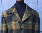 Men's Green and Black Plaid Pendleton Wool Jacket. Fully Lined and Quilted Padded/Pendleton Hunters Coat/Made in the USA Great Quality Coat