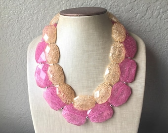 Pink & Champagne Necklace, multi strand jewelry, beaded chunky statement necklace, pink necklace, bridesmaid necklace, Champagne necklace
