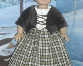 """American Girl 18"""" Doll Outlander Brown Claire Dress and Accessories"""
