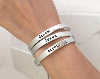 SALE : Personalized Cuff Bracelet, Inspirational Bracelet, custom bracelet,  cuff hand stamped bracelet,metal stamping, custom jewelry