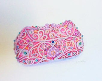Fashion Art Print Beaded Pink Bag Fashion Illustration Watercolor Fashion Wall Art Designer Bag Illustration Fashion Painting Jewelled Bag