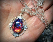 Dragons Breath Opal Necklace, Choose Sterling Silver or Antique Silver Chain