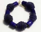 Blue African Trade Beads made in India, Ethnic Jewelry Supplies, Unique Glass Beads (AH50)