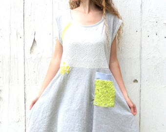 Half Off SALE use code: finishwell Casual Mini Day Dress, Lace Dress, Knit Dress XL upcycled dress, altered recycled clothes, funky dress