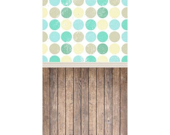 Grunge Blue Dots and Wood - Vinyl Photography  Backdrop Photo Prop