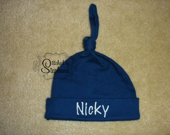 Custom personalized monogrammed personalized name white on navy blue newborn baby boy hat with knot