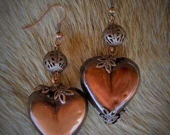 Free Shipping on Metal Copper Puff Heart Earrings