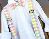 Easter Pastel Plaid Bowtie Suspender, Easter Plaid bow tie Suspender, Pastel Easter Braces, Easter Suspenders, Spring Pastel bowtie braces