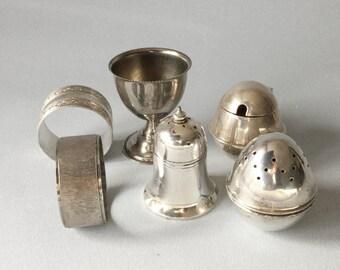 Silver plated pepper pots Pepper shakers Napkin rings Serviette rings Egg cup Mustard pot EPNS collection Condiment set Job lot  Cruet