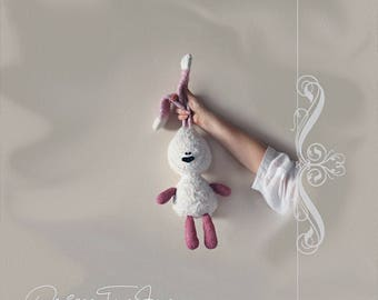 White rabbit with pink ears - pdf knitting pattern