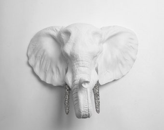 Faux Elephant Head Decor - The Madeleine - White Faux Elephant Head Wall Mount w/Silver Glitter Tusks - Fake Resin Animal Head Safari Decor