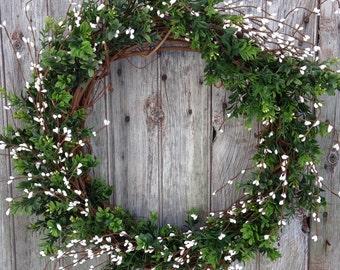 Boxwood, White Pip Berry Wreath, Spring Wreath, Summer Wreath, Pip Berry Wreath